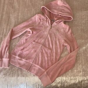 Juicy Couture Candy Baby Pink Velour Tracksuit Hooded Tracksuit Jacket Gold M 10