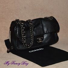 Gorgeous Authentic Chanel Black Lambskin Perforated Flap Bag Silver HW w/Dustbag