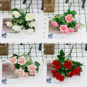 7 Heads Grave Bunch Outdoor silk Flowers openRose Wedding Home Stems Artificial