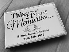 """Personalised guestbook photo album 36 x 6x4"""" my 21st year memory book, birthday"""
