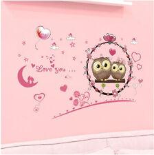 Wandtattoo Aufkleber Eulen Liebe Herz Schlaf Luftballon Baby Kind Sticker Zimmer