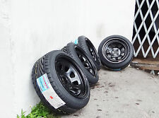 15X8 BLACK DIAMOND RACING STEELIES WHEELS WITH 195/45/15 TOYO PROXES T1R TIRES