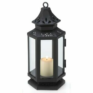 Black Metal Stagecoach Candle Lantern