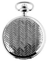 Excellanc Taschenuhr + Kette Clip Weiß Silber Muster Analog Quarz X480322000053