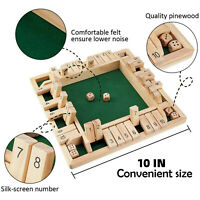 4 Players Shut The Box Wooden Traditional Pub Dice Family Kids Childrens Game
