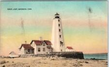 SAYBROOK, Connecticut  CT   Handcolored  INNER LIGHT Lighthouse    Postcard