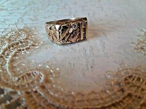 Men's Elegant 10K Yellow & Rose Black Hills Gold 5 Diamond Ring 6.8g Size 10.5