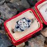 Vintage Art Deco 3.40Ct White Round Cut Diamond Engagement 14K White Gold Ring