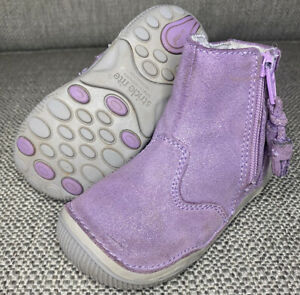 """Stride Rite """"SRT Zoe"""" Booties Toddler Girl's 6 WIDE Purple Sparkle Leather Boots"""