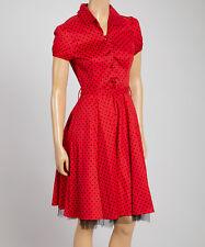 Hearts & Roses Alana Retro Pin-Up Rockabilly Red/Black Polka Dot Dress US 16