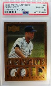 96 SkyBox Metal Universe Mining For Gold Derek Jeter Rookie RC #6, Graded PSA 8
