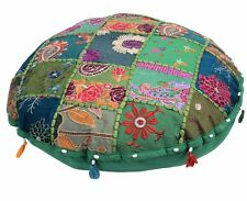 "22"" Green Round Decorative Floor Seating Cushion Cover Indian Bohemian Pillow"