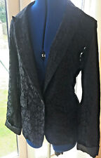 NEW  BLACK LACE JACKET MISS POSH WITH SATIN CUFFS & LINED SLEEVES SIZE 12