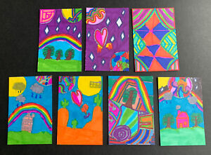 7 x Original ACEO Outsider Folk Art Brut Naive - Felt Pen - Series of 7