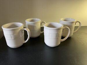 Set Of 4 Longaberger Woven Traditions 12 oz Ivory Coffee Mugs