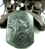 Beautiful 100% Chinese jade hand-carved the statue of Wolf Head PENDANT