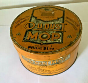 Vintage Litho Tin O U Dust Mop Polishing 'cloverleaf' Can Antique