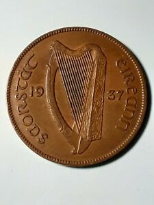 **1928 Ireland 1 Penny Irish Gaelic Harp Hen Chicks Eire Pingin **Extra Fine**