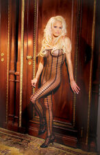 Black Diamond Pattern & Stripes with Sheer Squares Body Stocking One Size 1618