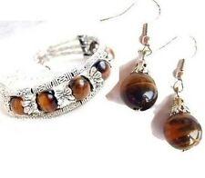 Charming Beautiful Tibet Jewelry Silver tiger eye bead Bracelet&Earrings