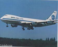 PAN AM - BOEING 747 LANDING PHOTO - COLOR PHOTO 8 X 10