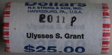 2011 P Ulysses S. Grant Uncirculated One Dollar 25 Golden Coin Roll $1