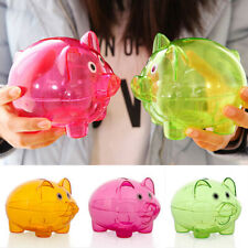 Clear Novelty Plastic Piggy Bank Coins Money Box Kids Saving Pig Toy Gift US