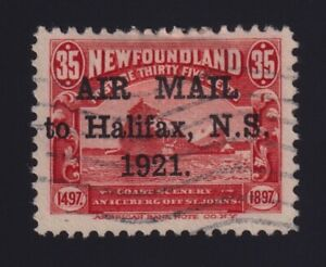 """Newfoundland Sc #C3b (1921) 35c red Halifax Airmail """"Stop After 1921"""" VF Used"""