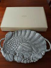"Lenox Turkey Handled Silver Metal Serving Platter 24"" x 16"" New Label on back"