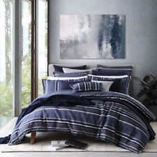 Private Collection Pierson Navy Queen Size Bed Duvet Doona Quilt Cover Set
