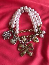 Betsey Johnson Vintage Ski Bunny Winter Snowflake Bow Mug Pink Pearl Bracelet