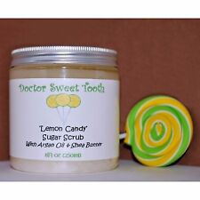 LEMON CANDY Handmade Scented Sugar Body Scrub w Argan Oil & Shea PARABEN FREE