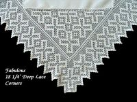 "FAB Antique Linen HAND MADE Deep Lace Tablecloth 44"" English Tea Cloth PRISTINE"