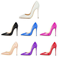 Women Patent Leather Pointed Toe Stiletto High Heel Solid Color Dress Pump Shoes