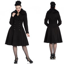 Ladies Hell Bunny Milan Black Fur Trim Winter Coat Rockabilly 1950's Vintage