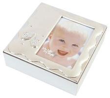 Silver Plated Baby Photo Trinket Keepsake Box Memory Christening Gift Present