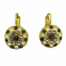 Mariana Handmade Swarovski Crystal Earrings Gold 1029 1016 Topaz Light Sapphire