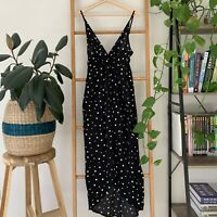 Oscar St Womens Black White Polka Dot Sleeveless Maxi Dress Size L Party