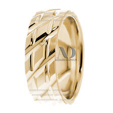 Side & Straight Lines Design 14K Yellow Gold Wedding Band Ring Comfort Fit 7mm