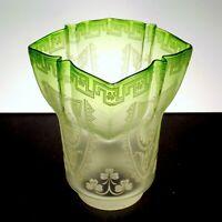 "Antique 1890s Art Nouveau Shamrock Etch Green Glass Oil Lamp Shade 2-5/8"" Fitter"