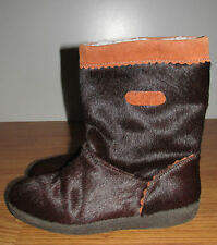 TECNICA Shearling/Fur Boots~Brown Suede and Fur~Size 8~Made in ITALY~EUC