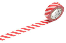 MT Stripe Red Washi Masking Tape, Candy Cane Colours, Festive Craft Tape
