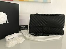CHANEL 2.55 Double Flap Bag Chevron Schwarz Rechnung