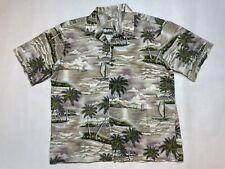 Vintage Hilo Hattie Hawaiian Shirt Made in Hawaii Tropical Palm Tree Island XL