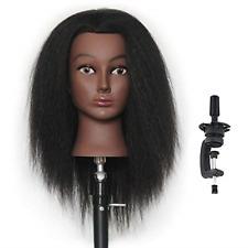 Make Up Mannequin Hairdresser Training Head Real Human Hair Afro Salon Equipment