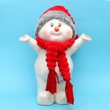 ceramica bambini nella neve in piedi 35 cm pupazzo di con berretti stoffa DOLCE