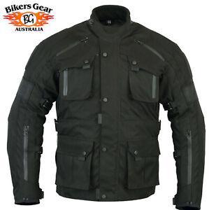 Australian Bikers Gear Infinity Black Waterproof Thermal Motorcycle CE Jacket