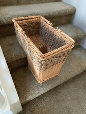 Large Vintage Wicker Two Tone  Stair Step Basket With Handle Excellent- Sturdy!
