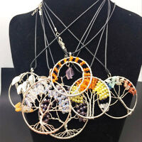 Crystal Gemstone Tree of Life Pendant Natural Quartz 7Chakra Healing Necklace