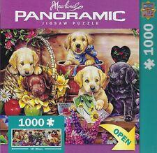 JENNY NEWLAND PANORAMIC 1000 PC JIGSAW PUZZLE FLOWER BOX PLAYGROUND DOGS ~ NEW